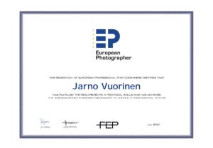 European Photographer sertificate of Jarno Vuorinen